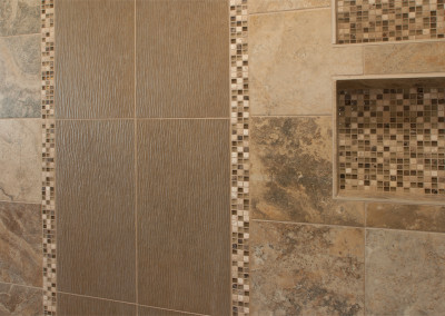 Ekrem Master Tile Design in Shower with Shampoo Niche