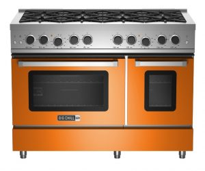 Big Chill 48-inch double oven in orange.