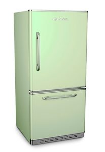 Big Chill Retropolitan Refrigerator in Jadeite Green.