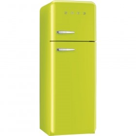 Smeg Double-Door Refrigerator-Freezer in Lime Green.